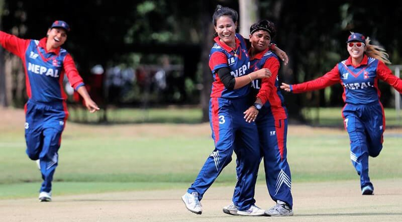 Nepal playing against Indonesia in Women's T20 Smash semi-final