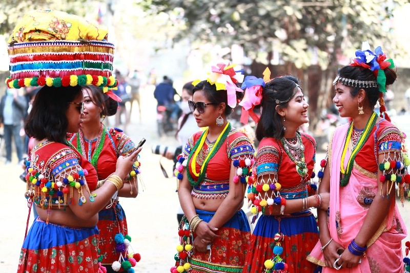 Tharu girls participating in cultural programme